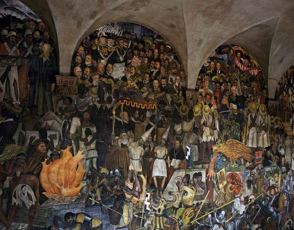The History of Mexico, by Diego Rivera (1886-1957), frescoes from the staircase of the National Palace, Mexico City. Mexico, 20th century.