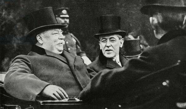 Old President, William Howard Taft, with successor Thomas Woodrow Wilson, Washington, United States of America, photograph by Trampus, from L'Illustrazione Italiana, Year XL, No 12, March 23, 1913