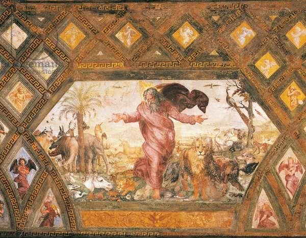 Creation of the animals, 1518-1519, workshop of Raphael (1483-1520), fresco, Raphael Loggias, Apostolic Palace, Vatican City