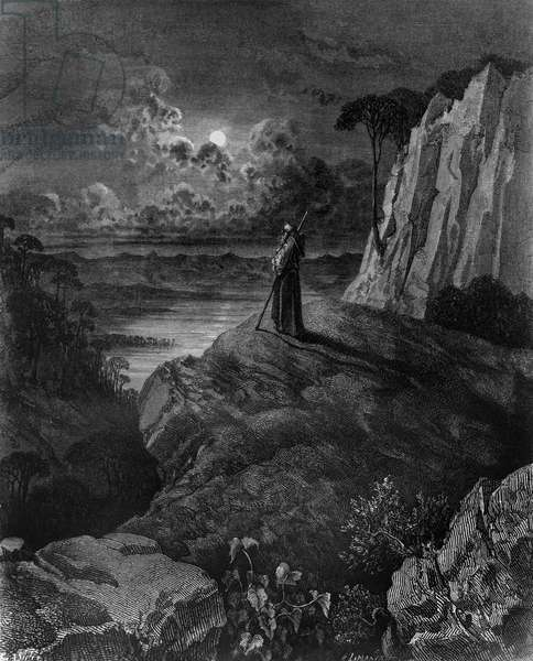 Hermit on Mountain, illustration for Atala, novella by Francois-Rene, vicomte de Chateaubriand (1768-1848), engraving after drawing by Gustave Dore (1832-1883), from Atala co' disegni di Gustavo Dore, published by Tipografia Lombardi, 1887, Milan