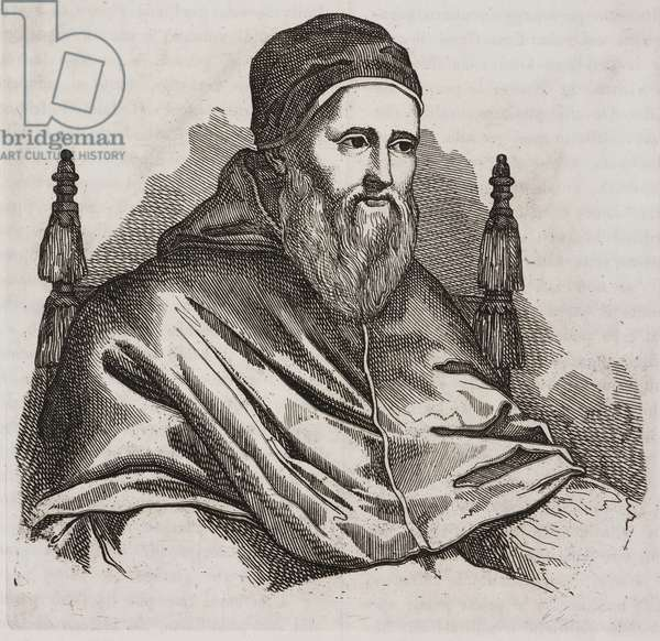 Portrait of Pope Julius II (1443-1513), engraving from Giornale Letterario e Di Belle Arti, Saturday, October 4, 1834