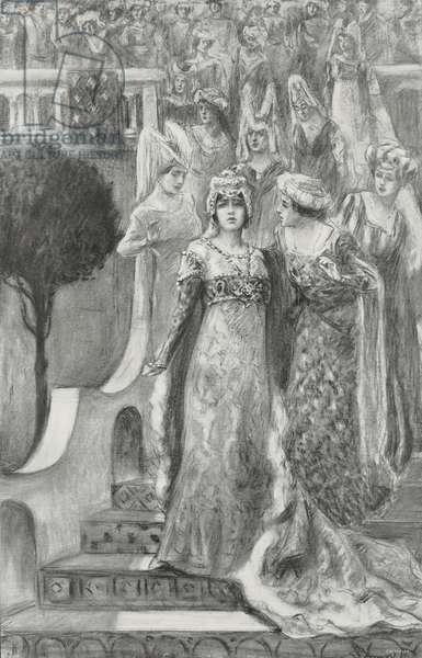 Parisina appears at top of stairs followed by young performers, Act I of Parisina, by Gabriele D'Annunzio and Pietro Mascagni, at La Scala Theatre in Milan, Italy, by L Bompard, from L'Illustrazione Italiana, Year XL, No 51, December 21, 1913