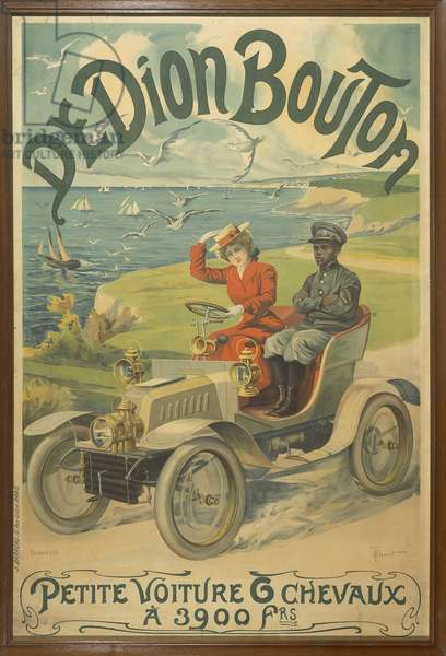 Advertisement for De Dion Bouton cars depicting La Belle Otero at wheel and Michel Zelete, valet of marquis of Dijon beside her, 1901 (colour litho)