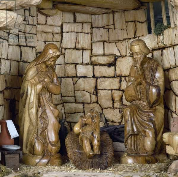 Nativity, nativity scene with olive wood figurines, Palestine