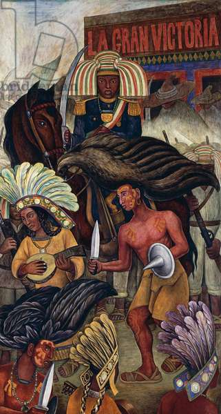 Dance of the Huichilobos, 1936, fresco, by Diego Rivera (1866-1957) for the Hotel Reforma in Mexico City. Mexico, 20th century. Detail.