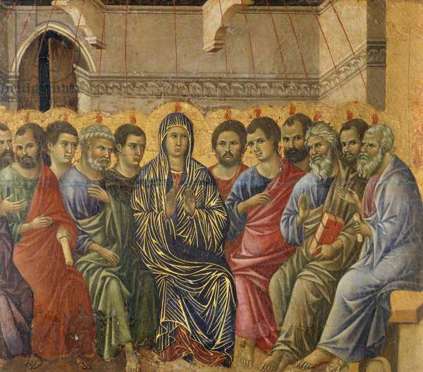 Pentecost, detail from Episodes from Christ's Passion and Resurrection, reverse surface of Maesta' of Duccio Altarpiece in the Cathedral of Siena, 1308-1311, by Duccio di Buoninsegna (ca 1255 - pre-1319), tempera on wood