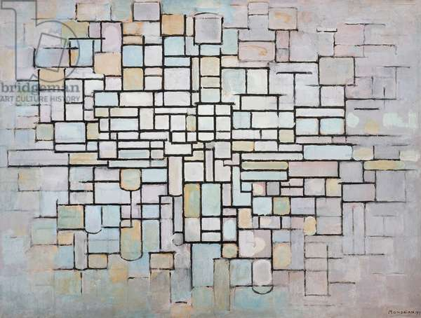 Composition No 11 in grey, pink and blue, 1913, by Piet Mondrian (1872-1944), oil on canvas. Netherlands, 20th century.
