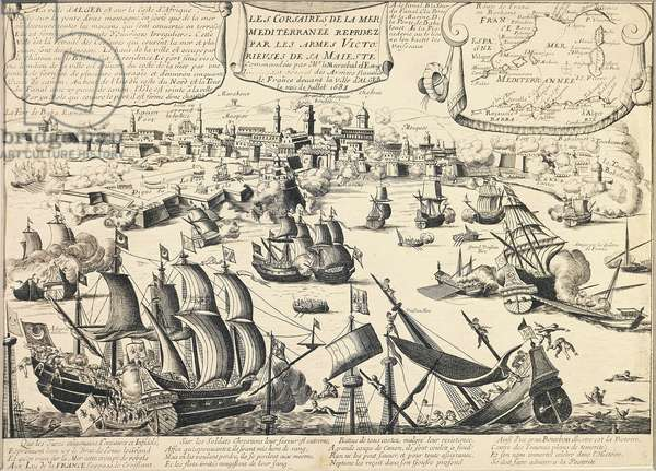 Mediterranean corsairs defeated by French fleet led by Jean II d'Estrees, in front of Algiers, July 1688, engraving, Algeria, 17th century