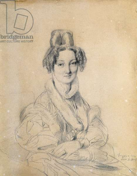 Portrait of Madame Hittorff, 1829, by Jean Auguste Dominique Ingres (1780-1867), drawing, 27x21 cm.