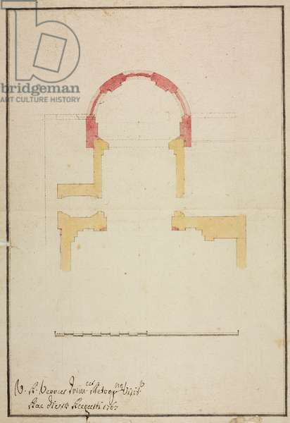Design for extension of choir in parish church of Cesate, parish of Bollate, 1767, Cardinal Giuseppe Pozzobonelli, plan, Italy, 18th century