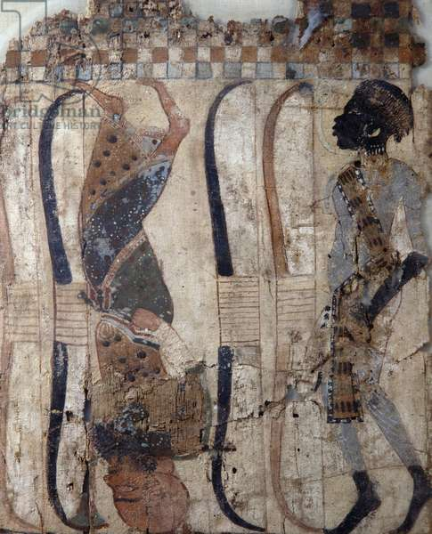 Prisoners of conquered countries, painted on material from Tomb of Tutankhamun, Egyptian civilization, New Kingdom, Dynasty XVIII, Detail of face