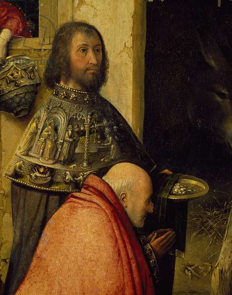 Two wise men, detail from Adoration of the Magi, by Hieronymus Bosch, 1510, oil on canvas, Circa 1450-1516, 138x144 cm