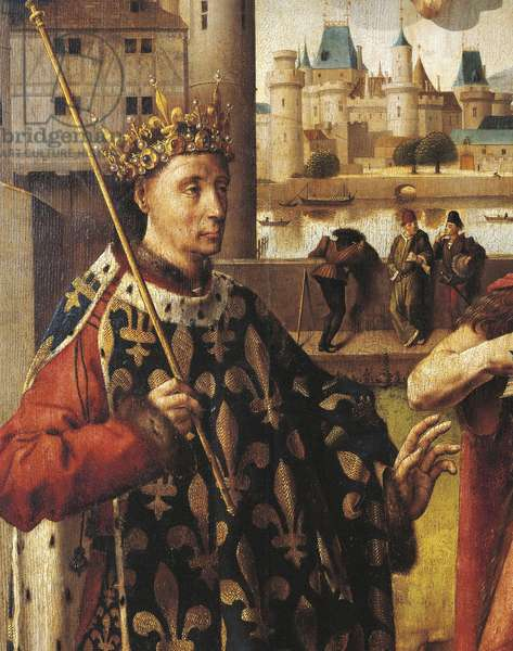 St Louis (Louis IX of France, known as the Saint, 1215-1270), the Nesle tower and the Louvre Museum, detail from painting by French school, 15th century