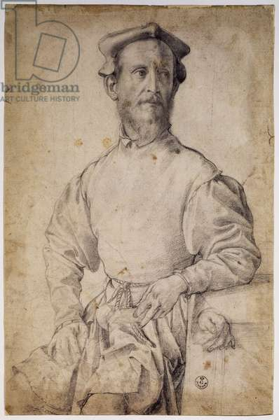 Portrait of Pontormo, 1532-1535, by Agnolo di Cosimo, known as il Bronzino (1503-1572), drawing.