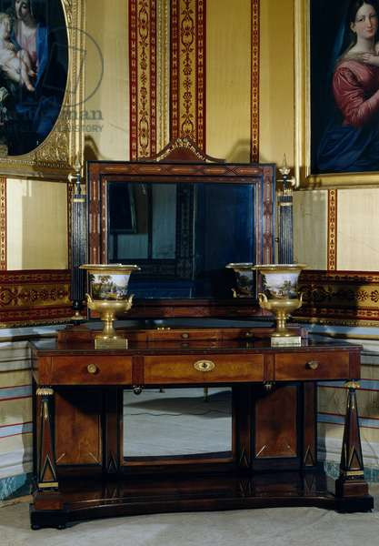 Empire style mahogany dressing table with obelisk-shaped supports, Spain, 19th century