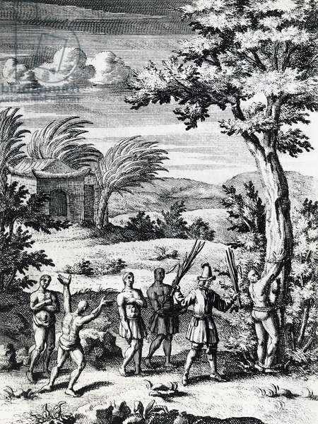 Buccaneer whipping slave, Caribbean, engraving, 17th century