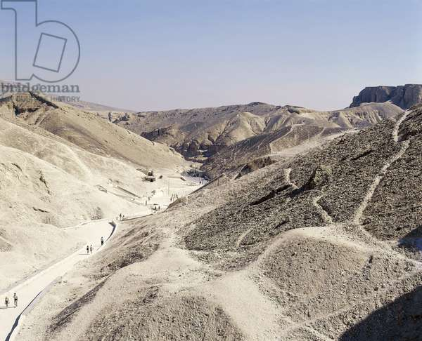 Egypt, Ancient Thebes, West Thebes, Luxor, Valley of the Kings, Royal Tombs, view from the Tomb of Thutmose III