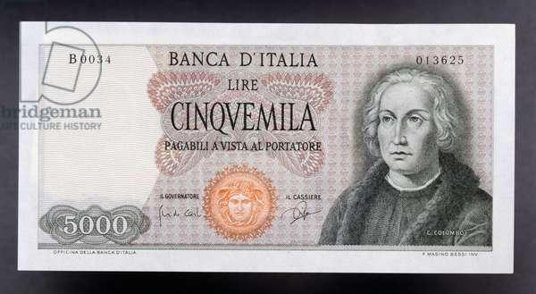 5000 lire banknote, Christopher Columbus type, 1965, obverse, Christopher Columbus (1451-1506), 14.2x7 cm, Italy, 20th century