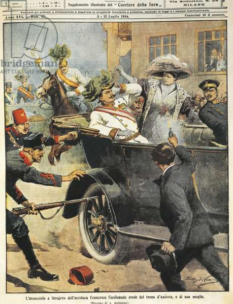 Bosnia, Sarajevo, July 5, 1914, Murder of Archduke Franz Ferdinand, artwork from magazine cover