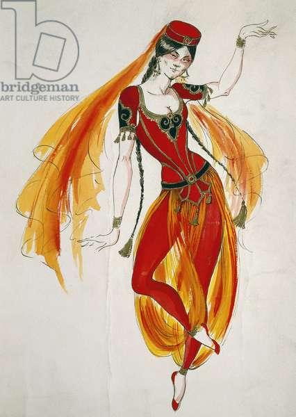 Costume sketch for Persian dancer in opera Luisa Miller, 1849, by Giuseppe Verdi (1813-1901)