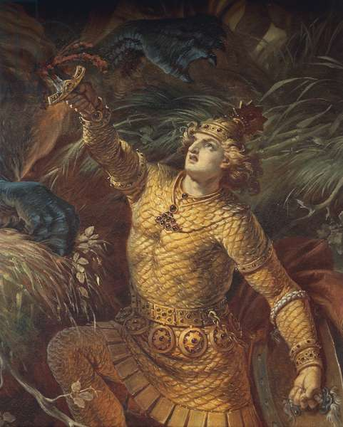 Sigurd killing the dragon Fafuir by holding the Gram sword, detail, from the Sigurd Saga, Lower Hall, c.1882-83 (mural) (see also 419035)