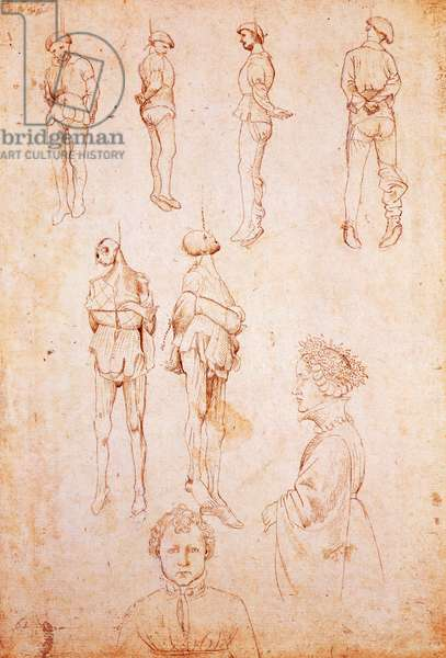 Hanged men and two portraits, study for Saint George and the Princess, c.1430