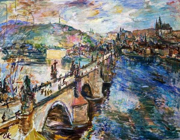 The Charles Bridge and Hradcany Castle in Prague, 1934, by Oscar Kokoschka (1886-1980), oil on canvas. Austria, 20th century.