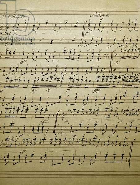 Original handwritten score for Schneider Polka (Tailor's Polka), first composition by Richard Strauss (1864-1949)