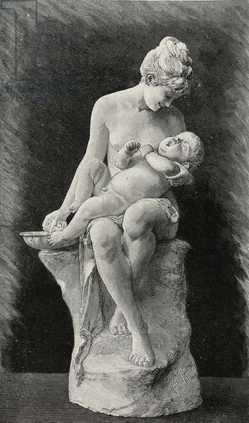 Morning toilet (Motherly care), sculpture by Franz Iffland (1862-1935), woodcut from Moderne Kunst (Modern Art), illustrated magazine published by Richard Bong, 1892-1893, Year VII, No 13, Berlin