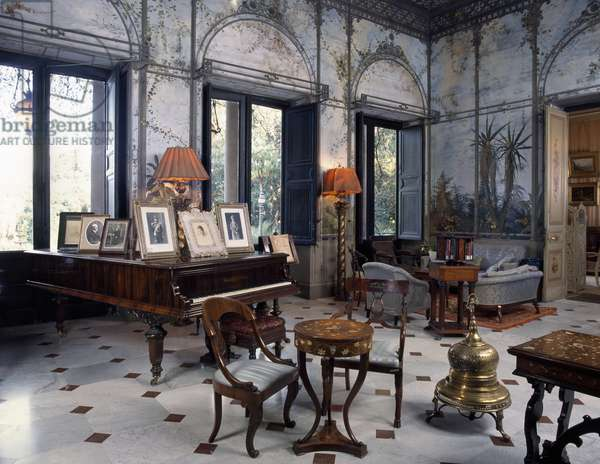 Summer Hall decorated in trompe l'oeil with vegetal motifs, by Ettore De Maria Bergler (1580-1938), Villa Malfitano Whitaker, Palermo, Sicily. Italy, 19th century.