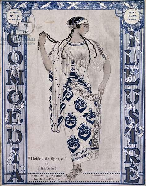 Dancer Ida Rubinstein (1885-1960) in role of Helen in ballet Helen of Sparta at Theatre du Chatelet in Paris in 1912, Watercolor by Leon Bakst (1867-1927)