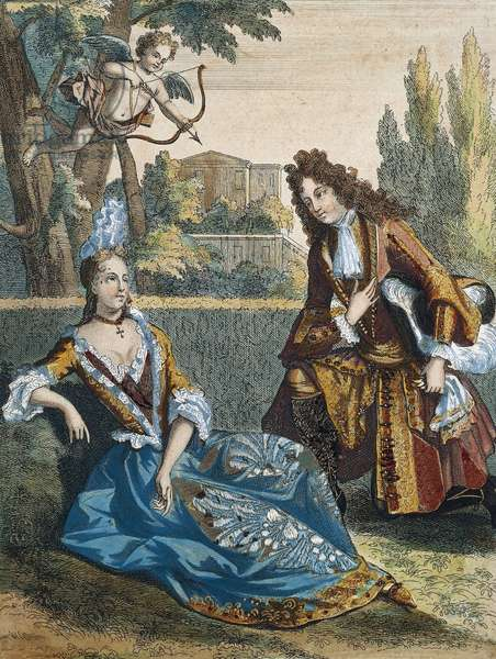 Woman Seated on Grass, by Nicolas Bonnart (1636-1718), colour engraving. France, 17th century