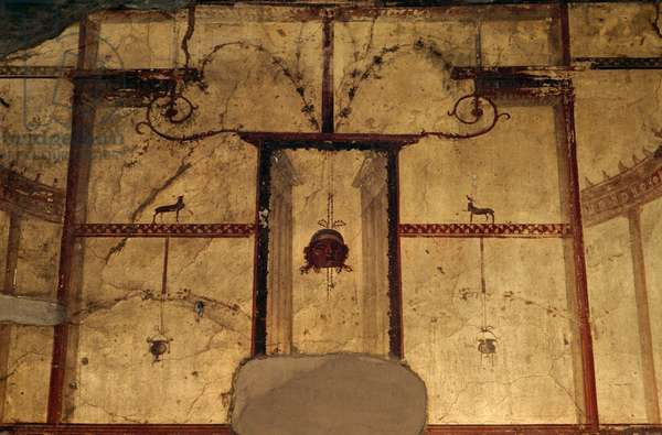 Frescoed wall from the House of Aristides, Herculaneum (UNESCO World Heritage List, 1997), Campania, Italy. Roman civilization, 1st century AD