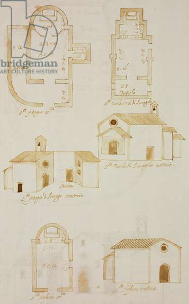 Plans and elevations of Oratories of Saint George at farm of Colciago, Saint Roch and Saint Stephen, Lurago d'Erba, parish of Incino Erba, designed on occasion of visit of Carlo Borromeo, about 1574, Italy, 16th century