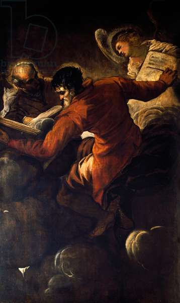 The Evangelists Luke and Matthew, 1557, by Jacopo Tintoretto (1519-1594), oil on canvas, 257x150 cm, church of Santa Maria del Giglio, Venice, Italy. 16th century.