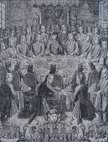 Banquet offered to king of France, Louis XV, 1730, engraving, France, 18th century