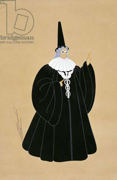 Costume sketch for Despina disguised as doctor from 'Cosi Fan Tutte', Paris Opera Comique, March 21, 1952 (w/c on paper)