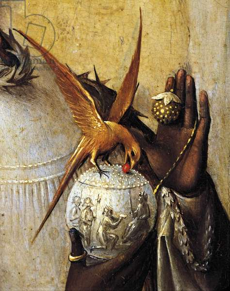 Vase surmounted by bird, detail from Adoration of the Magi, by Hieronymus Bosch, 1510, oil on canvas, Circa 1450-1516, 138x144 cm