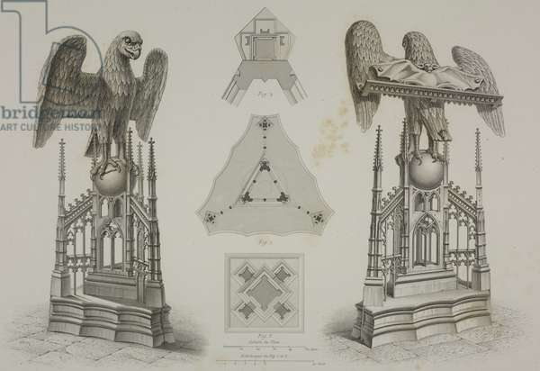 Lectern surmounted by an eagle in the Church of Notre Dame at Aix la Chapelle, France, from L'Architecture du V au XVI siecle et les Arts qui en dependent, 1853-1857, by Jules Gailhabaud (1810-1888)