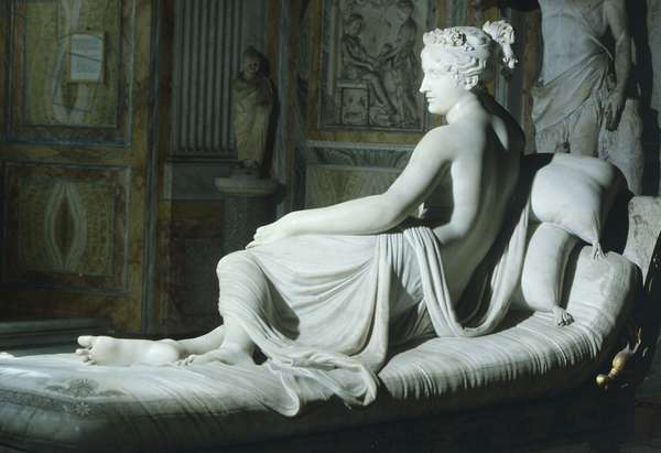 Paolina Borghese as Venus Victrix, by Antonio Canova (1757-1822), white marble, 1805-1808,