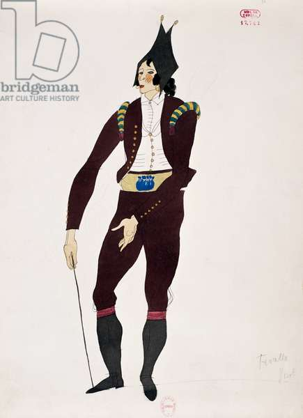 Costume for character of Fiorello from The Barber of Seville by Gioacchino Rossini, sketch by Charles Martin (1884-1934), 1933, Paris Opera theatre, 20th century