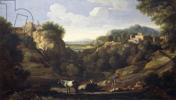 Italian landscape showing hunting scene, by Gaspard Dughet (1615-1675)