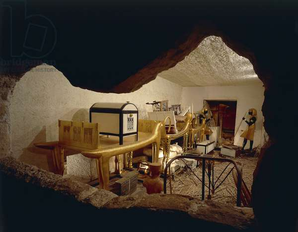 Replica of antechamber of tomb with royal Ka and funerary objects, from King Tutankhamen's tomb