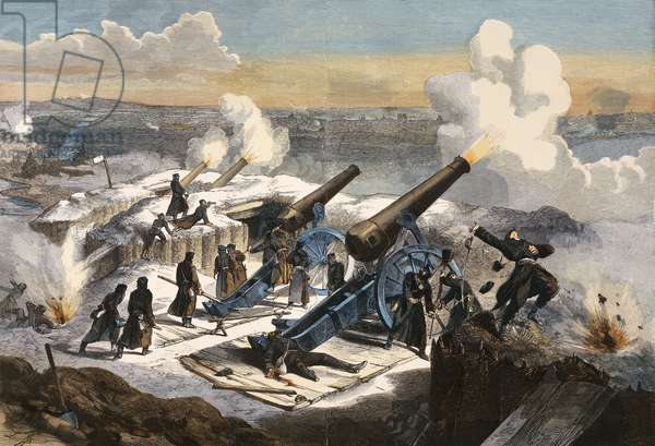 The Prussian artillery bombard Paris. Franco-Prussian War, France, 19th century.