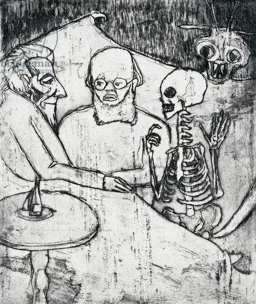 Patient, doctor, death and the devil, 1911, by Emil Nolde (1867-1956), etching and aquatint. Germany, 20th century.