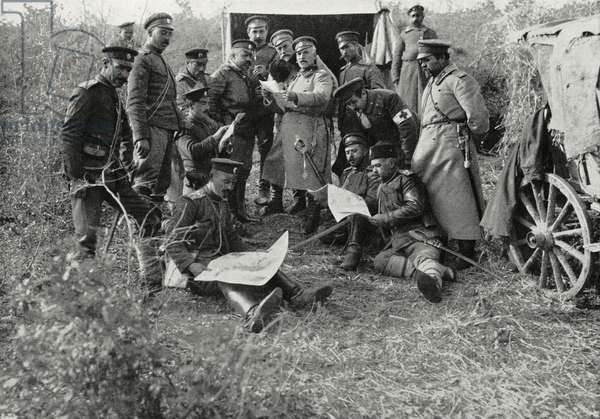 Bulgarian officials at Uruch-Tepe camp during final attack on Adrianople (Edirne), March 26, 1913, Turkey, First Balkan War, photograph by Dimitr Karastoyanow, from L'Illustrazione Italiana, Year XL, April 14, 1913