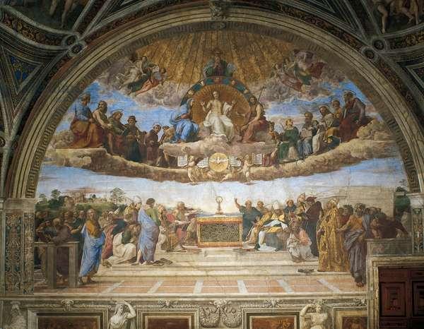 Disputation of the Holy Sacrament, 1509-1510, by Raphael (1483-1520), fresco, Room of the Segnatura, Apostolic Palace, Vatican City