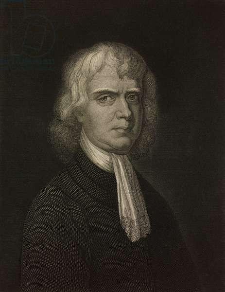 Portrait of Isaac Newton (1642-1727), British mathematician, physicist, astronomer, engraving by Seemann and Baumann