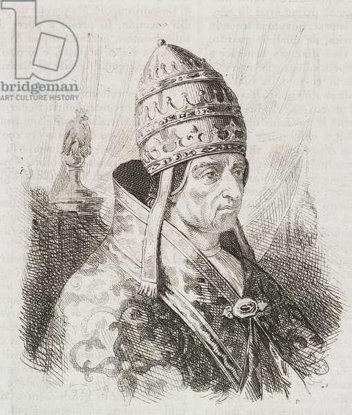 Portrait of Pope Innocent III (1161-1216), engraving from L'album, giornale letterario e di belle arti, March 6, 1841, Year 8