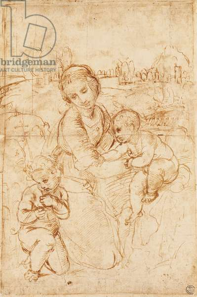 Madonna and Child with the infant Saint John the Baptist, ca 1508, by Raphael (1483-1520), drawing